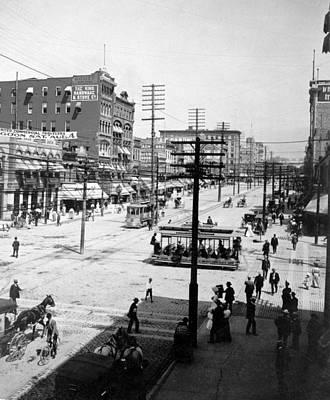 Telephone Poles Photograph - Main Street, Salt Lake City, Utah C by Everett