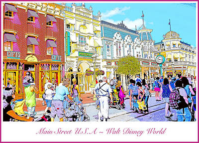 Main Street Usa Walt Disney World Poster Print Art Print