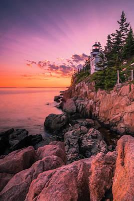 Photograph - Maine Acadia Bass Harbor Lighthouse Sunset by Ranjay Mitra