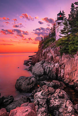 Art Print featuring the photograph Maine Bass Harbor Lighthouse Sunset by Ranjay Mitra