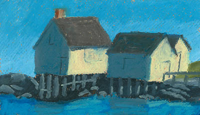 Pastel - Maine Beach Fishing Shacks by Dominic White