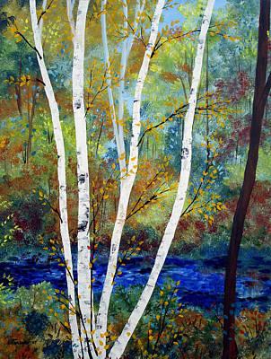 Maine Birch Stream Art Print by Laura Tasheiko