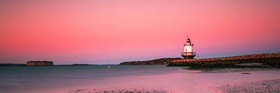 Photograph - Maine Breakwater Light Sunset Panorama by Ranjay Mitra