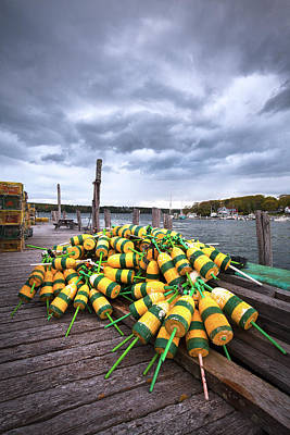 Maine Buoys And Storm Clouds Art Print