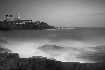 Photograph - Maine Cape Neddick Lighthouse And Rocky Coastal Waves Bw by Ranjay Mitra