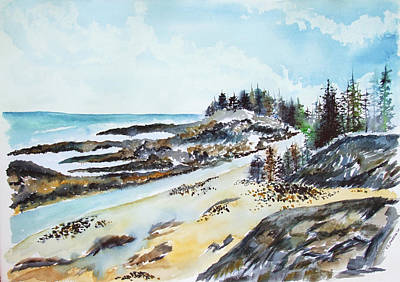 Painting - Maine Coast And Beach by Jan Anderson