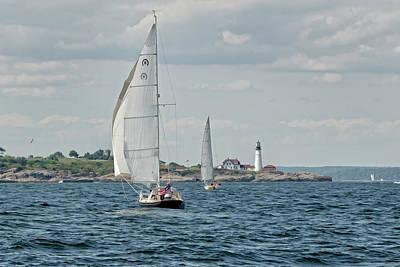 Digital Art - Maine Coast Sailboats by Donna Doherty