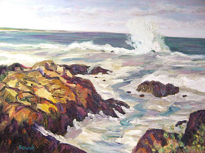 09 Painting - Maine Coast Waves With Rocks by Richard Nowak