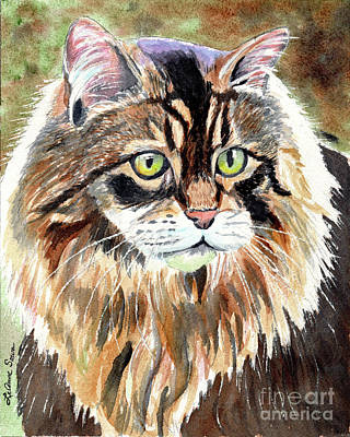 Painting - Maine Coon Cat, Cat Paintings, Cat Prints,  by LeAnne Sowa