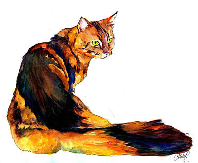 Painting - Maine Coon Cat Portrait by Christy Freeman Stark