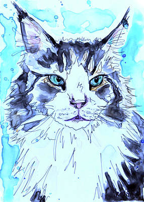 Watercolor Pet Portraits Painting - Maine Coon by Shaina Stinard