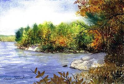 Maine Painting - Maine Fall Pond by Laura Tasheiko
