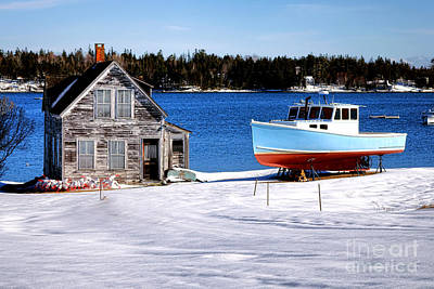 Maine Harbor Winter Scene Art Print