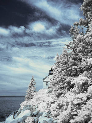 Infrared Photograph - Maine Lighthouse by Bob LaForce