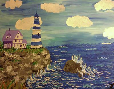 New England Lighthouse Painting - Maine Lighthouse by Felicia Clark