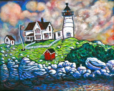 Eastcoast Lighthouses Painting - Maine Lighthouse by Steve Lawton