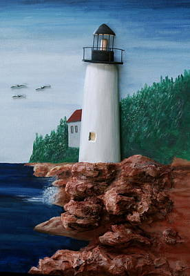 Coastal Maine Mixed Media - Maine Lighthouse by Ted Hess