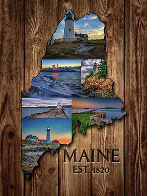 Tower Digital Art - Maine Lighthouses Collage by Rick Berk
