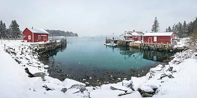 Maine Lobster Shacks In Winter Art Print by Benjamin Williamson