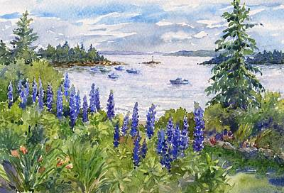 Maine Landscapes Painting - Maine Lupines by Leslie Fehling