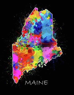 Maine Coast Digital Art - Maine Map Color Splatter 2 by Bekim Art