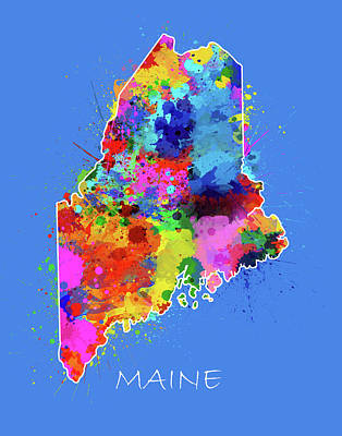 Splatter Digital Art - Maine Map Color Splatter 3 by Bekim Art