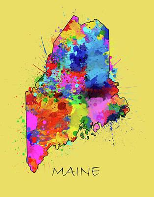 Maine Coast Digital Art - Maine Map Color Splatter 4 by Bekim Art