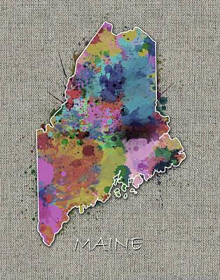 Maine Coast Digital Art - Maine Map Color Splatter 5 by Bekim Art