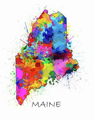 Maine Coast Digital Art - Maine Map Color Splatter by Bekim Art