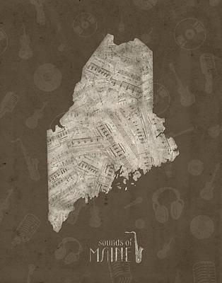 Jazz Royalty-Free and Rights-Managed Images - Maine Map Music Notes 3 by Bekim Art
