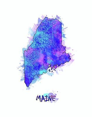 Maine Coast Digital Art - Maine Map Watercolor 2 by Bekim Art
