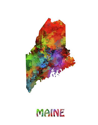 Maine Coast Digital Art - Maine Map Watercolor by Bekim Art