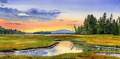 Maine Landscapes Painting - Maine Marsh Sunrise by Heidi Gallo