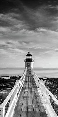 Photograph - Maine Marshall Point Lighthouse Vertical Panorama In Black And White by Ranjay Mitra