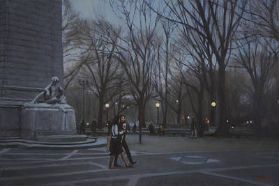 Monument Circle Painting - Maine Monument At Dusk by Walter Lynn Mosley