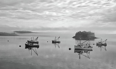 Photograph - Maine Mooring Black And White by Thomas Pettengill