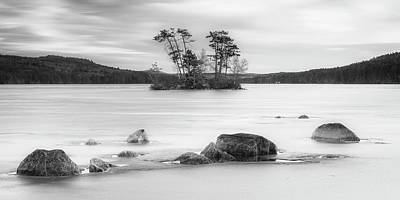 Photograph - Maine Moose Pond In Winter Filled With Snow And Ice Panorama by Ranjay Mitra