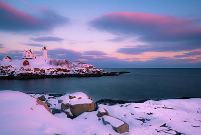 Photograph - Maine Nubble Lighthouse In Winter Blue Hour by Ranjay Mitra