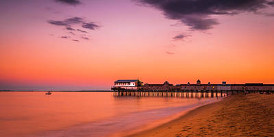 Maine Old Orchard Beach Pier At Sunset Art Print
