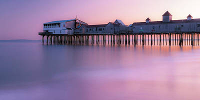 Maine Oob Pier At Sunset Panorama Art Print