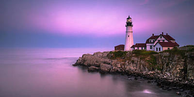 Photograph - Maine Portland Headlight Blue Hour Panorama by Ranjay Mitra