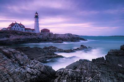 Photograph - Maine Portland Headlight Lighthouse Blue Hour by Ranjay Mitra