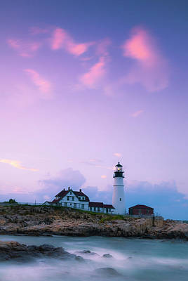 Maine Portland Headlight Lighthouse In Blue Hour Art Print