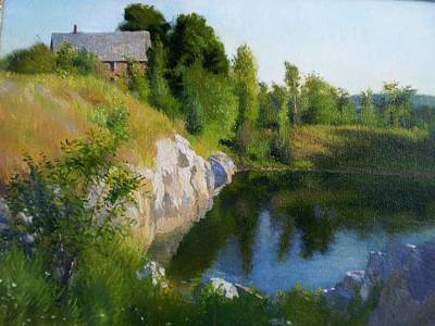 Mid-coast Maine Painting - Maine Quarry by Ron Johnston