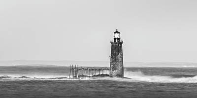 Photograph - Maine Ram Island Ledge Lighthouse And Windy Surf In Bw Panorama  by Ranjay Mitra
