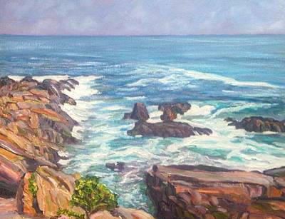 Ogunquit Marginal Way Painting - Maine Rocks And Sea by Richard Nowak