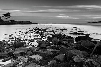 Photograph - Maine Rocky Coast In Bw by Ranjay Mitra