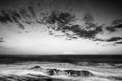 Maine Rocky Coast With Boulders And Clouds At Two Lights Park Art Print