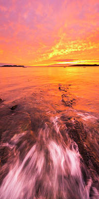 Maine Rocky Coastal Sunset At Kettle Cove Art Print