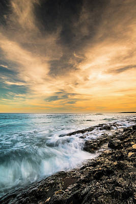 Art Print featuring the photograph Maine Rocky Coastal Sunset by Ranjay Mitra